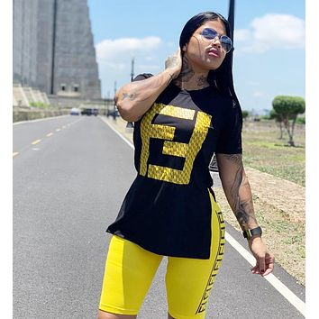 FENDI Hot Sale Woman Casual Print Short Sleeve Top Shorts Set Two Piece Sportswear Yellow/Black