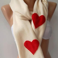 LOVE - Valentine's Day Scarves  - Super elegant scarf /shawl long scarf...Beige - red heart...