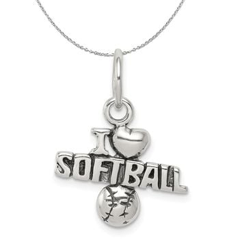 Sterling Silver Antiqued I Heart Softball Script Charm Necklace