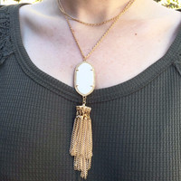 White Stone Tassel Wrap Necklace