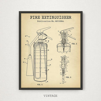 Fire Extinguisher Patent Print, Firefighter Printable, Digital Download, Fire Extinguisher Wall Art, Fireman Poster, Fire House Decor