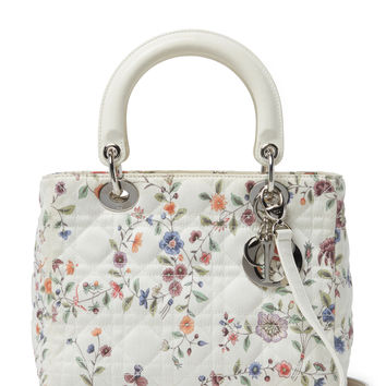 Christian Dior Women's Floral Cannage Quilted Canvas Lady Dior Medium