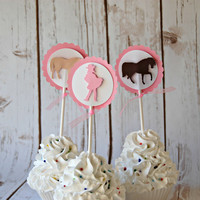 Chic Cowgirl Silhouette Birthday Party Cupcake Toppers (set of 12)