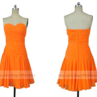 Custom Made Sweetheart Orange Bridesmaid Dress/ Short Prom Dress/ Wedding Party Dress