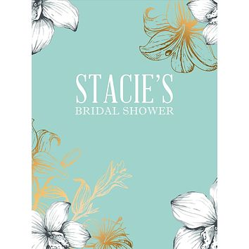 Custom Floral Mint and Gold Bridal Shower Backdrop (Any Color) Background - C0291