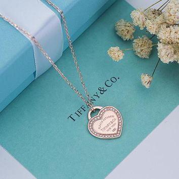 Tiffany trend fashion heart diamond necklace 925 sterling silver high quality
