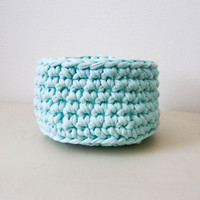 Crochet bowl, mint green crochet basket, recycled cotton, eco-friendly home decor, crochet basket, home storage