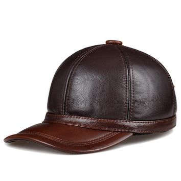 JA127 Winter Male Genuine Leather Personalized Baseball Caps For Sale Man Letter Ear Head Protection Trucker Golf Dad Hats