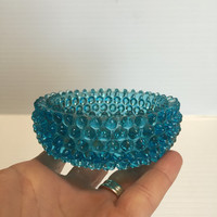 BLUE GLASS DISH,Small glass bowl,small candy bowl,blue candy dish,retro style blue glass,vintage glass dish,vintage blue decor,hobnail decor