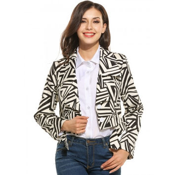 New Women Casual Turn Down Collar Long Sleeve Striped Button Closure Formal Coat
