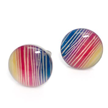 ON SALE - Colorful Striped Enamel Button Stud Earrings