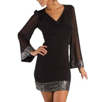Sequin Trimmed Black Mini Dress