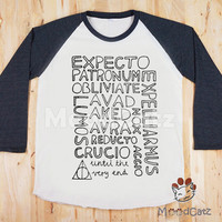 S, M, L -- Expecto Patronum T-Shirt Harry Potter T-Shirt Text Shirt Funny Shirt Women T-Shirt Unisex Shirt Raglan Long Sleeve Baseball Shirt
