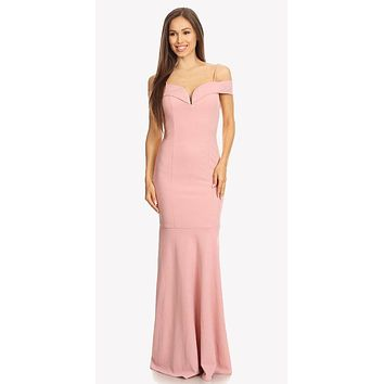 Dusty Pink Off Shoulder Mermaid Style Evening Gown with Sweetheart Neckline