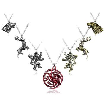Game of thrones The family god beast Wolf Head Dragon A Song of Ice and Fire Alloy Pendent High Quality Necklace Gift For Fans