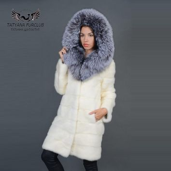 Tatyana Furclub Luxury Mink Fur Coat With Fox Hooded,Winter Real Value Natural Fur Coat,Women's Fur Coat Female Jacket,Mink Coat