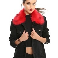 Red Removable Faux Fur Black Denim Girls Jacket