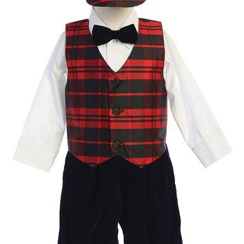 Boys Red Plaid Vest & Velvet Knickers Christmas Set w. Hat 3M-4T