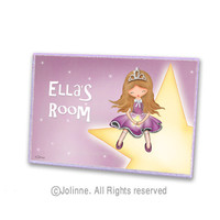 Children art, princess room decor, personalized, door sign, custom name, baby girl, kids room decor
