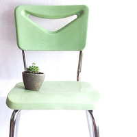 Sea Green Mid Century Modern Stacking Chair, Vintage Plastic Chair, Mint Green Chair, Vintage School Chair, Bright, Pastel Green