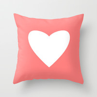 Coral Heart Throw Pillow by M Studio