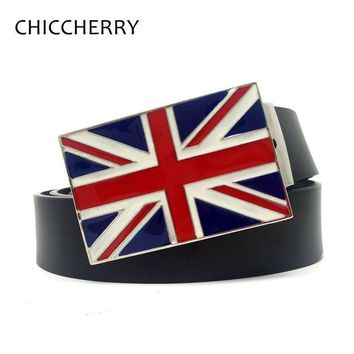 Union Jack British Flag of United Kingdon England Mens Biker Belt Buckles with PU Leather Belts For