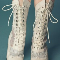 Marie Antoinette in Ivory Lace Boots - Shoes