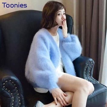 Lantern Sleeves Mink Cashmere Cardigan Solid Thickening Thermal Women Sweater Sweet Open Stitch 2017 Winter Overcoat Sweet Coats