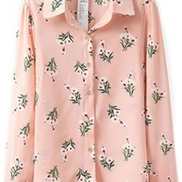 Pink Button Down Floral Print Shirts - OASAP.com