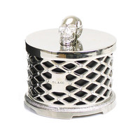 D.L. & Co. Skull Candle with Silver Lattice and Swarovski Crystals