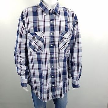 Izod Jeans Long Sleeve Shirt 3XL Mens Button Down Plaid Blue Red Gray Cotton