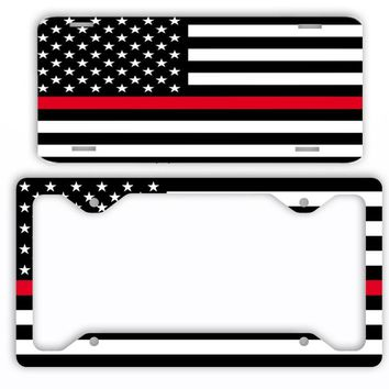 Thin Red Line Firefighter EMS License Plate Frame Car Tag Support