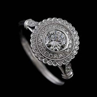 GIA Diamond Halo Flower Antique Style Platinum Micro Pave Platinum Engagement Ring