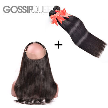 2 Pcs Bundle Malaysian Virgin Hair Straight with 360 Lace Frontal Closure