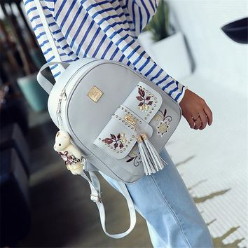 Fashion Embroidery Backpack Women Pu Leather Back Pack Famous Brand School Bags for Girls