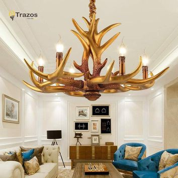 Indoor Antlers Chandelier For European Country Living Room Xmas Decoration Lamp Luminarias Para Sala De Jantar Ceiling Pendant