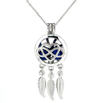 """K791 Silver Alloy Dream Catcher Heart Love Leaf Beads Cage Stainless Necklace 20""""Aroma Essential Oil Diffuser Locket"""