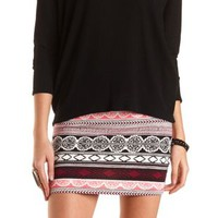 Paisley and Tribal Print Bodycon Mini Skirt - Black Multi