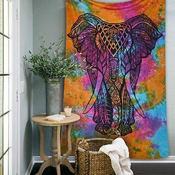 Psychedelic Tie Dye Hippie Elephant Boho Wall Bed Tapestry