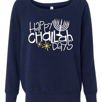 Happy Challah Days Womens Hanukkah Sweater
