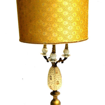 Mid Century Lamp, Hollywood Regency, Glass and Marble Lamp, Statement Lamp, Mid Century Decor, Vintage Table Lamp, Cream and Gold