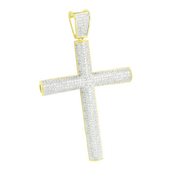 Mens Cross 14k Gold Finish Pendant Cylinder Style Charm 3.9""