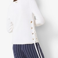 Ribbed Cotton Lace-Up Sweater | Michael Kors