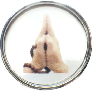 Namaste Hands With Mala Beads 18MM - 20MM Fashion Snap Jewelry Snap Charm New Item