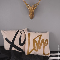 Graffit Love - Natural Canvas Cotton Pillow Cover - Home Goods House ware - Decorative Pillow Cover