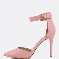 Pointy Toe PU Stiletto Heels PINK | MakeMeChic.COM