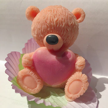 Handmade soap - Teddy Bear gift toy soap. All-natural. Great gift for a baby shower, bridal shower, wedding favor, birthday, Mother's Day.