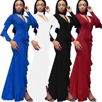 4 color evening dresses with folds and lotus flowers Sexy long sleeved skirt Party Dresses Bodycon Dress