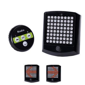 ABS Black Wireless Remote Control LED Bicycle Taillight Turn Signal Riding Warning Light
