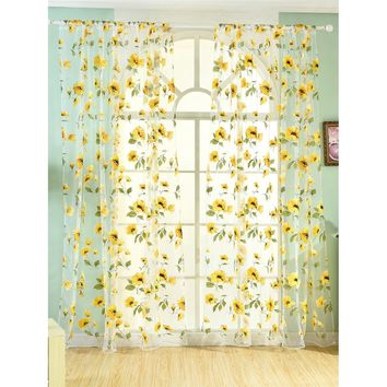 Flower Print Rod Pocket Curtain 1pc